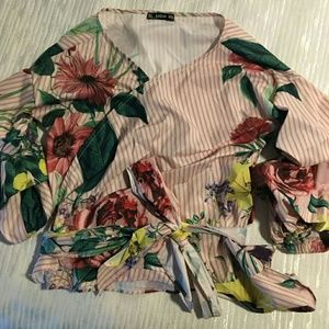 NWOT Floral and Striped Wrap Blouse